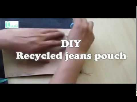DIY Recycled Jeans Pouch:DIY Zipper Pouch Bag Tutorial - English