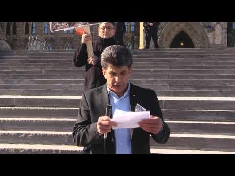Ottawa Mark 4th year of Illegal Saudi war on Yemen Br  Helmi Charif speech infront of Paliament Hill Ottawa Canada - Eng