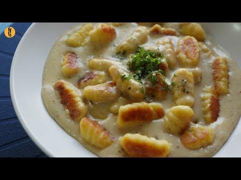 [Quick Recipe] Crispy Gnocchi Pasta with Cheese Sauce - English Urdu