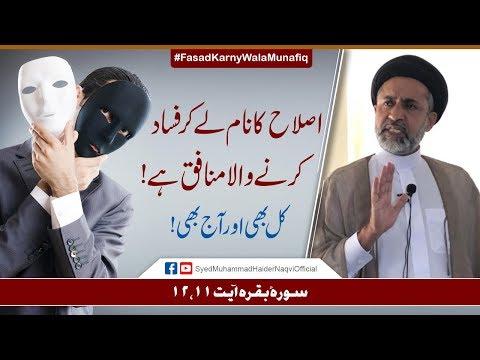 Islah Kay Naam Lay Kar Fasad Karny Wala Munafiq Hay!    Ayaat-un-Bayyinaat    Syed Haider Naqvi   Urdu